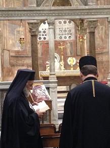 The Melkite Patriarch of Antioch and His Beatitude Svyatoslav Shevchuk at Santa Maria in Cosmedin. (Oct. 8, 2015)